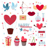 Valentine Day icons vector illustration. Valentine Day 14 february icons vector illustration. Save the date decoration typography romantic happy valentine Stock Photography