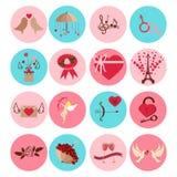 Valentine Day icons vector illustration. 14 february Valentine Day icons vector illustration. Save the date decoration typography romantic happy greeting love Stock Photo