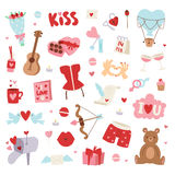Valentine Day icons vector illustration. Set of love doodle 14 february Valentine Day icons vector illustration. Save the date decoration typography romantic Stock Image