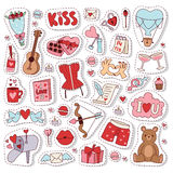 Valentine Day icons vector illustration. Set of love doodle 14 february Valentine Day icons vector illustration. Save the date decoration typography romantic Stock Photography