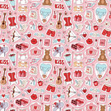 Valentine Day icons vector seamless pattern. Set of love doodle 14 february Valentine Day icons vector illustration seamless patetrn Royalty Free Stock Photo