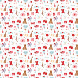Valentine Day icons vector seamless pattern. Set of love doodle 14 february Valentine Day icons vector illustration seamless patetrn Stock Image