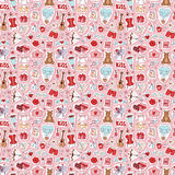 Valentine Day icons vector seamless pattern Stock Images