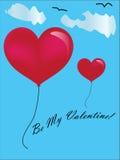 Valentine Day-kaart met 2 hartimpuls Stock Foto's