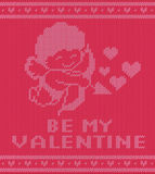 Valentine. Day knitting pattern with cupidon, vector illustration Stock Image
