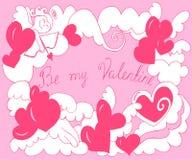 Valentine Day kort med ängeln, hjärtor Royaltyfri Bild