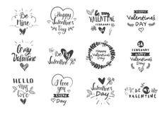 Valentine Day Labels, insignias e iconos, tarjetas de felicitaciones del amor, sistema de elementos del diseño de la tipografía ilustración del vector