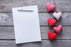 Valentine day letter background, hearts bunch on wood, copy space Royalty Free Stock Photo