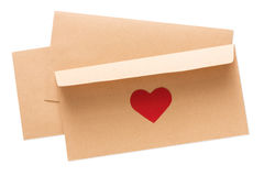 Valentine day letter in envelope isolated on white background Royalty Free Stock Photography