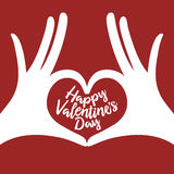 Valentine day lettering background with hands in. Heart gesture. Happy valentines day phrase. Minimalistic greeting card. Vector vintage illustration Stock Image