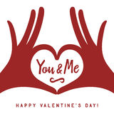 Valentine day lettering background with hands in heart gesture. You and me phrase. Minimalistic greeting card. Vector vintage illustration Stock Photos