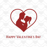 Valentine day lettering background with young couple in heart shape. Vector vintage illustration. Valentine day lettering background with young couple in heart Stock Photos