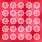 Valentine Day Line Circle Icons-Satz Stockfoto