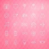 Valentine Day Line Icons Set über polygonalem Hintergrund Stockbild