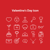 Valentine Day Line Icons Set Fotografía de archivo