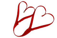 Valentine day linked red zipper hearts Stock Photos
