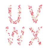 Valentine day love alphabet made of hearts Stock Images