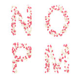 Valentine day love alphabet made of hearts Royalty Free Stock Photo
