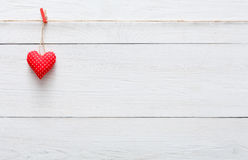Valentine day love background, pillow heart on wood, copy space Royalty Free Stock Photo