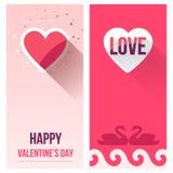 Valentine Day Love Banner Set, vector plano Foto de archivo libre de regalías