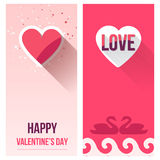 Valentine Day Love Banner Set, Vlakke Vector Royalty-vrije Stock Foto