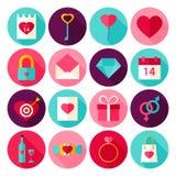 Valentine Day Love Flat Icons Fotografia Stock Libera da Diritti