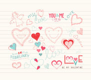 Valentine day Love hearts doodle decoration Stock Photo