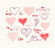 Valentine day Love hearts doodle set Stock Photo