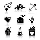 Valentine day love icons set Royalty Free Stock Images
