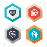 Valentine day love icons. Target aim with heart Stock Photography