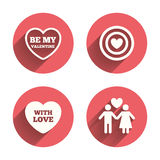 Valentine day love icons. Target aim with heart Stock Photo