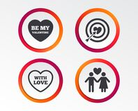 Valentine day love icons. Target aim with heart. Valentine day love icons. Target aim with heart and arrow symbol. Couple lovers sign. Infographic design Royalty Free Stock Photo
