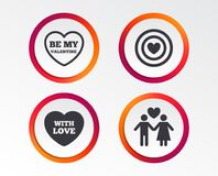Valentine day love icons. Target aim with heart. Valentine day love icons. Target aim with heart symbol. Couple lovers sign. Infographic design buttons. Circle Stock Photo