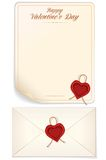 Valentine Day, Love Letter Print Template Royalty Free Stock Image