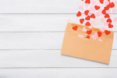 Valentine day love letter on white wood background Stock Photos