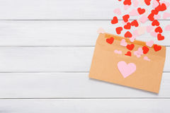 Valentine day love letter on white wood background Royalty Free Stock Photos