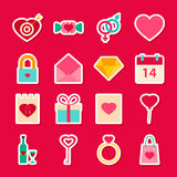 Valentine Day Love Stickers Stock Photography