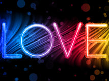 Valentine Day Love Word Colorful Waves Stock Photography