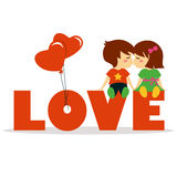 Valentine day with lovely boy and girl Stock Photography