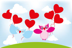 Valentine day lovely owls greeting card Stock Images