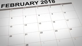 Valentine day mark on calendar 2018. Closeup of circle mark for Valentine day reminder on calendar page of 14 February 2018 stock video
