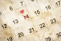 Valentine day marked on calendar Royalty Free Stock Images