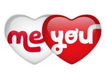 Valentine Day Me y usted corazón Imagen de archivo libre de regalías