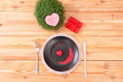 Valentine day menu on the wood table Stock Photography