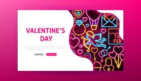 Valentine Day Neon Landing Page libre illustration