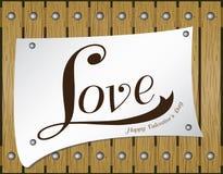 Valentine Day no fundo de madeira Vector o amor no papel no fundo de madeira marrom da textura do assoalho Fotografia de Stock