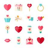 Valentine Day Objects Set feliz plano aislado sobre blanco Fotos de archivo