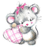 Valentine Day och gulligt djur Arkivbilder