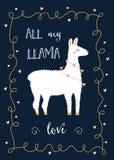 Valentine Day- oder Freund-Tageskarte mit Lama und festlicher Licht-Herz-Girlande Lizenzfreie Stockfotos