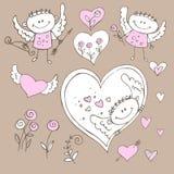 Valentine Day original. Valentine holiday heart Angel Cupid set Royalty Free Stock Image